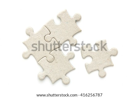 top view of puzzle jigsaw on white background - stock photo