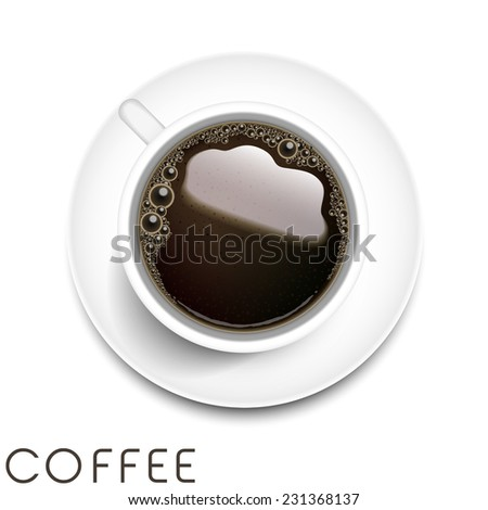 top view of realistic coffee isolated on white background - stock photo