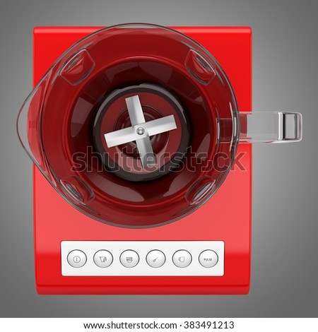 top view of red countertop blender isolated on gray background - stock photo