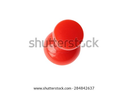 Top view of red drawing pin isolated on white with clipping path - stock photo