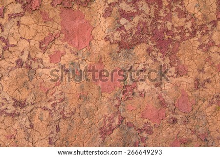 Top view of red dry soil texture for background - stock photo