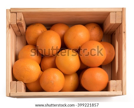 top view of Ripe sweet tangerines in wooden box isolated on white background - stock photo