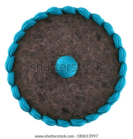top view of round chocolate cake with blue cream isolated on white background - stock photo