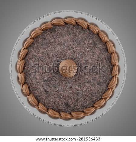 top view of round chocolate cake with cream isolated on gray background - stock photo
