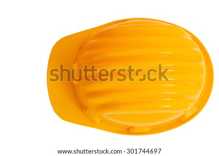 top view of safety, construction protection helmet isolated white background  - stock photo