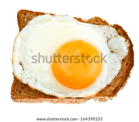 top view of sandwich from fried egg and toasted rye bread isolated on white background - stock photo