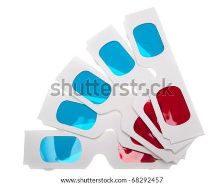 Top view of several paper 3D anaglyph glasses isolated in white background - stock photo