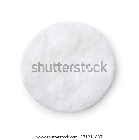 Top view of single cotton pad isolated on white - stock photo