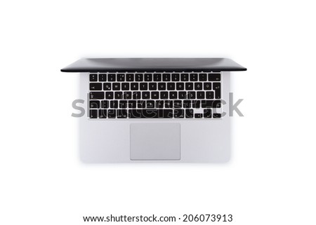 Top view of single laptop, isolated on white background. - stock photo