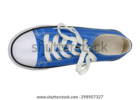 top view of single sneaker isolated on white - stock photo
