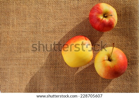 Top view of small gala apple over sack background.                     - stock photo