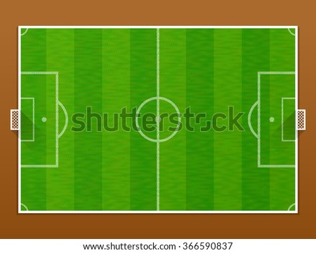 Top view of soccer pitch. Association football field with goalposts. Qualitative illustration for soccer, sport game, championship, gameplay, etc - stock photo