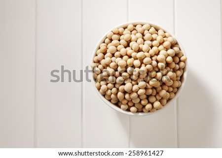 top view of soy bean in a white bowl - stock photo