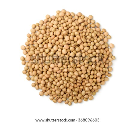 Top view of soy beans isolated on white - stock photo