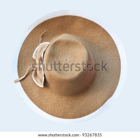 top view of straw hat - stock photo