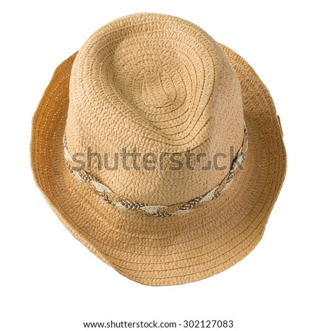 top view of straw hat isolated on white background - stock photo