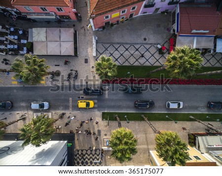 Top View of Street with Palm Trees in a Beach - stock photo