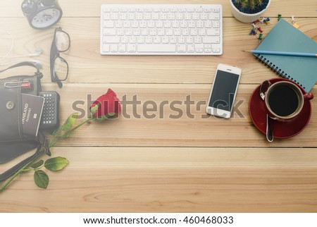 Top view of stuff office desktop and copy space with fog - stock photo