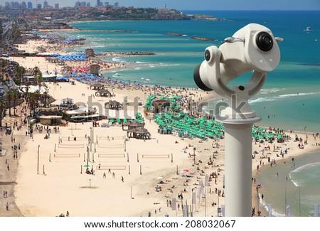 Top view of Tel-Aviv beach with telescope (Mediterranean sea. Israel) - stock photo