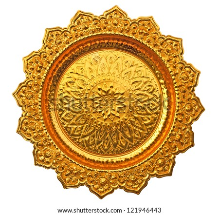 Top view of Thai style golden tray - stock photo
