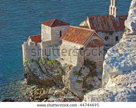 Top view of the Budva Old town, Montenegro - stock photo