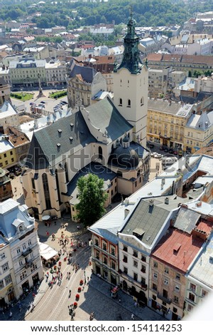Top view of the Cathedral in Lviv, Ukraine. - stock photo