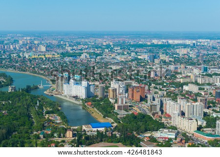 Top view of the city Krasnodar and Kuban river, Russia - stock photo