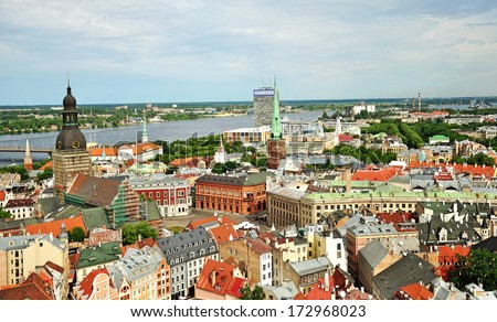top view of the city of Riga and the River Daugava - stock photo