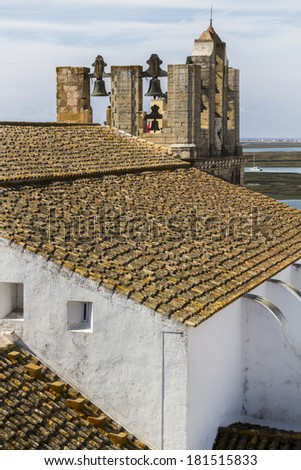 Top view of the main church of the historical old town of Faro, Portugal. - stock photo