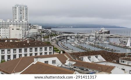 Top view of the Marina of Ponta Delgada, Sao Miguel Island, Azores. - stock photo