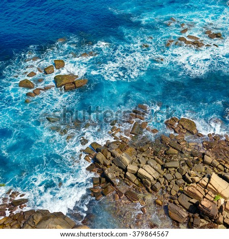 Top view of the rocky coast - stock photo