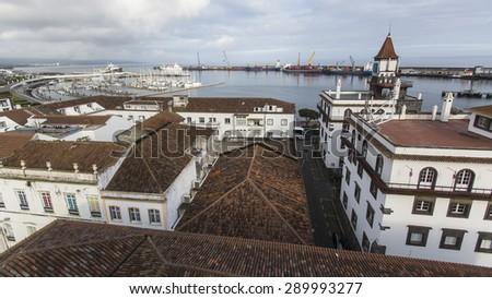 Top view of the Sea Port of Ponta Delgada, Azores, Portugal. - stock photo