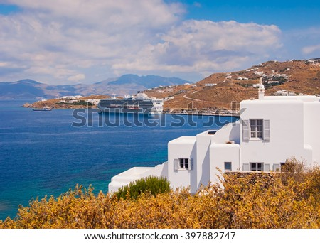 Top view of the town and the new port of Mykonos island - stock photo