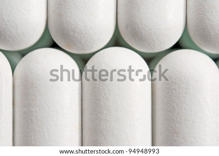 top view of the white pills - stock photo