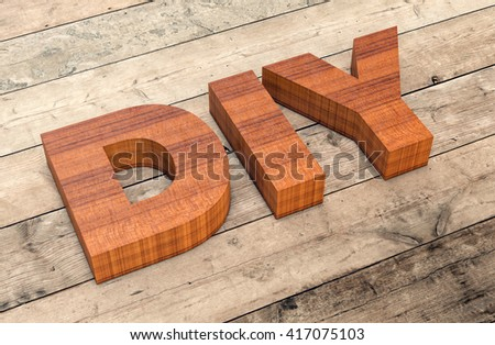 top view of the word diy on wooden background (3d render) - stock photo