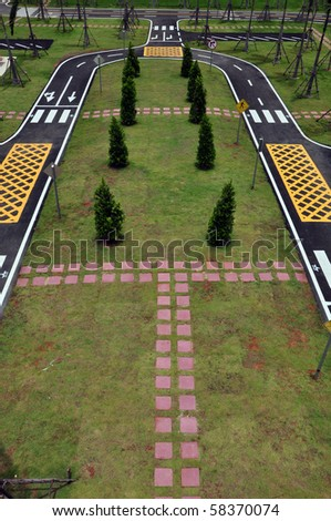top view of traffic symbol road - stock photo