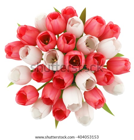 top view of tulips in jug isolated on white background. 3d illustration - stock photo