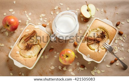 Top view of two portions homemade apple cake and a jug with milk on a paper background, baking concept, closeup - stock photo