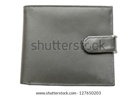 Top view of used wallet isolated on a white background. - stock photo