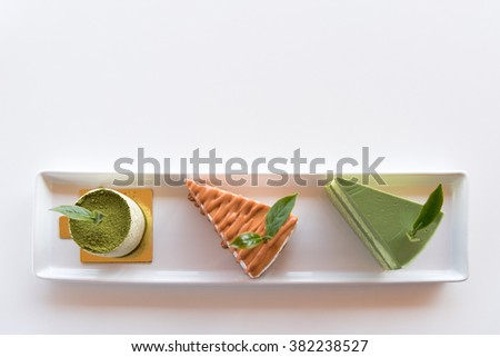 Top view of various type of cakes that put green tea as an ingredient. - stock photo