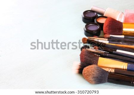 top view of Vintage Make Up set. - stock photo