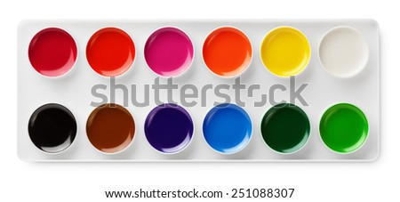 Top view of watercolor paints in box isolated on white background with clipping path - stock photo