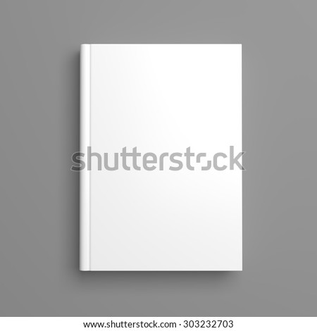 Top view of white blank book cover on grey background with shadow - stock photo