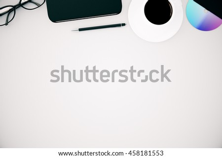 Top view of white office desktop with coffee cup, cd, pen, smartphone and glasses. Mock up, 3D Rendering - stock photo