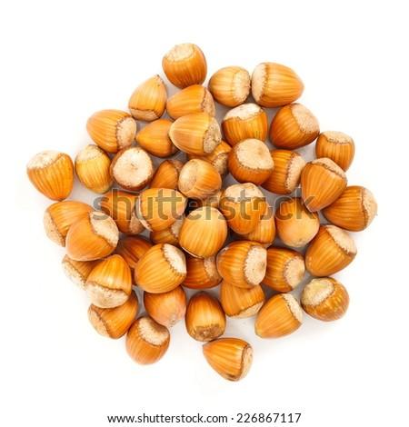 Top view of whole ripe hazelnut bunch  - stock photo