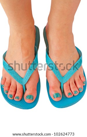 Top view of woman feet with thong and painted fingernails for summer - stock photo