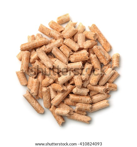 Top view of wooden pellets isolated on white - stock photo