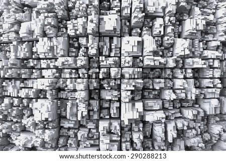 Top view on buildings in metropolis - stock photo