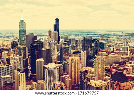 Top View On Chicago Downtown Office Buildings - stock photo