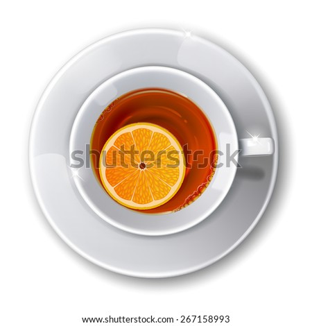 Top view on  cup with  tea on a white background.= - stock photo